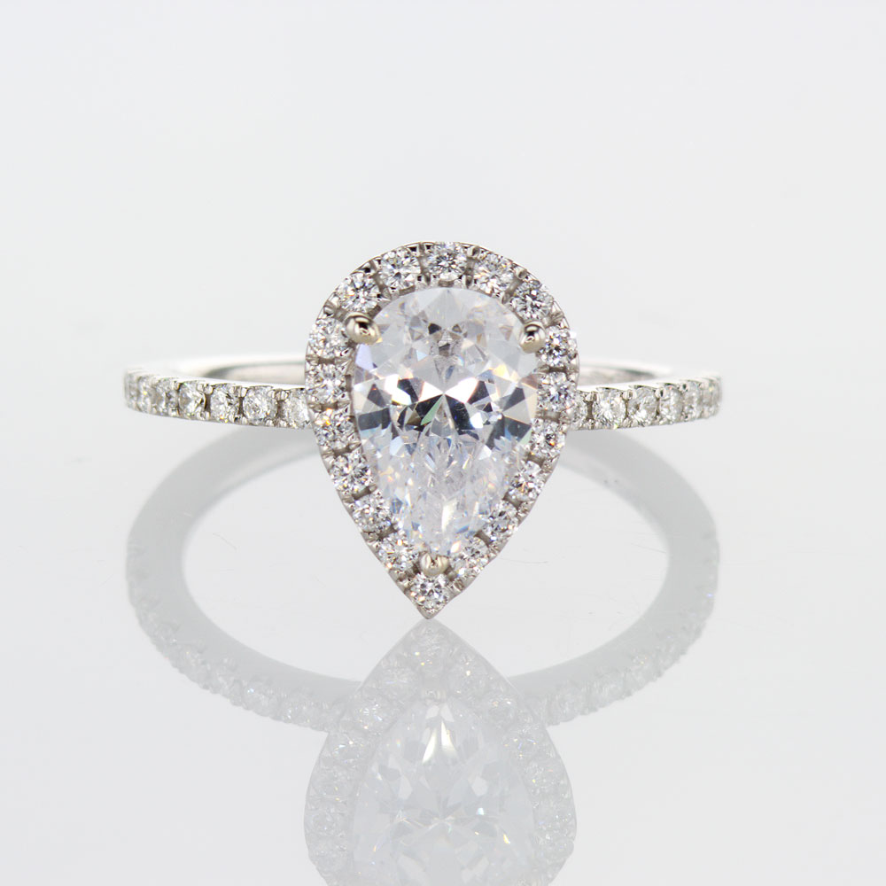 Pear Brilliant Diamond Halo Engagement Ring, 14k White Gold