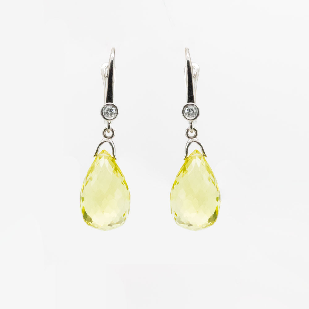 Peridot Drop Earring with Diamond Accents , 14k White Gold
