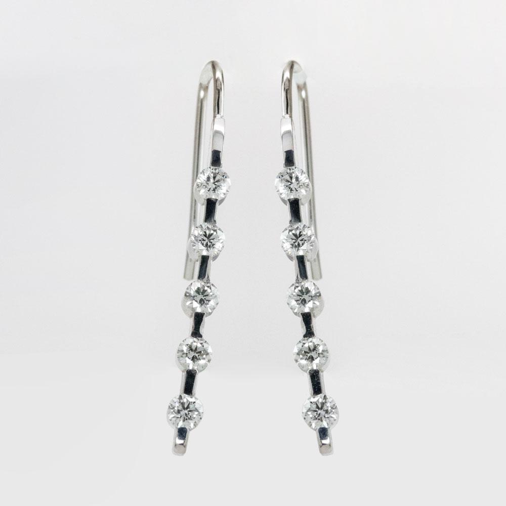 DiamondDiamond Climber Earrings,14k White Gold