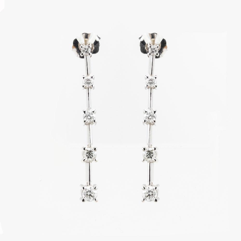 Diamond Drop Earrings, 14k  White Gold