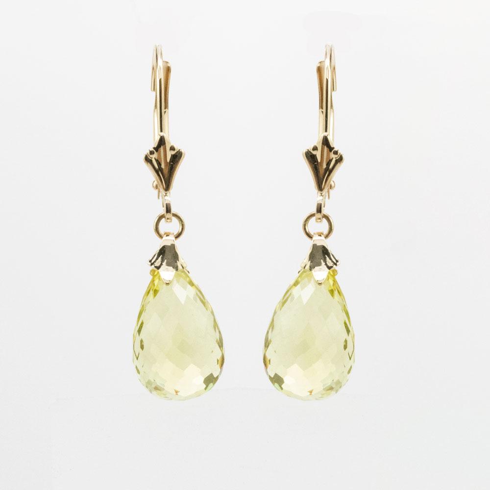 Faceted Briolette Cut Peridot Drop Earrings, 14k Yellow Gold