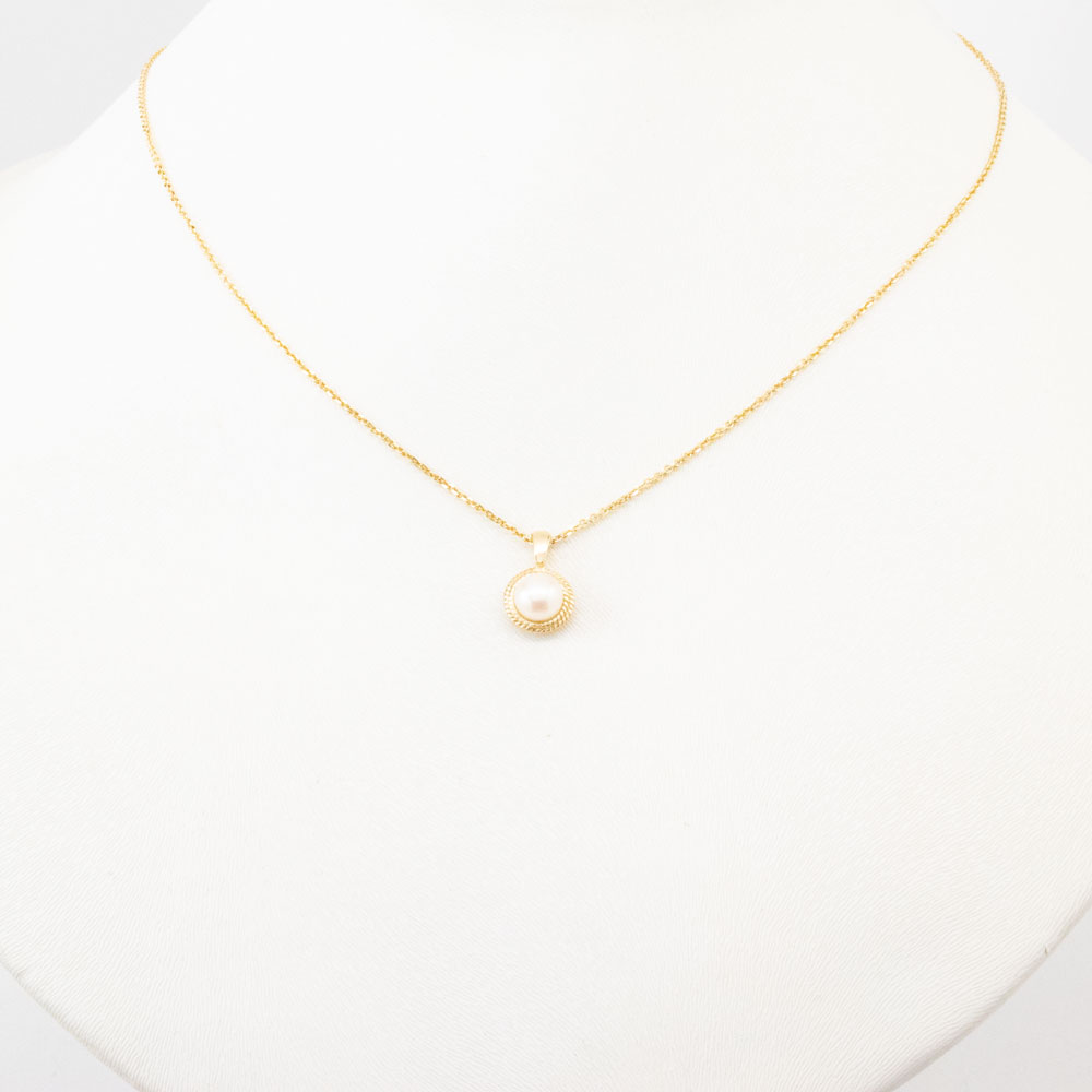 Pearl Pendant with Chain, 14k Yellow Gold