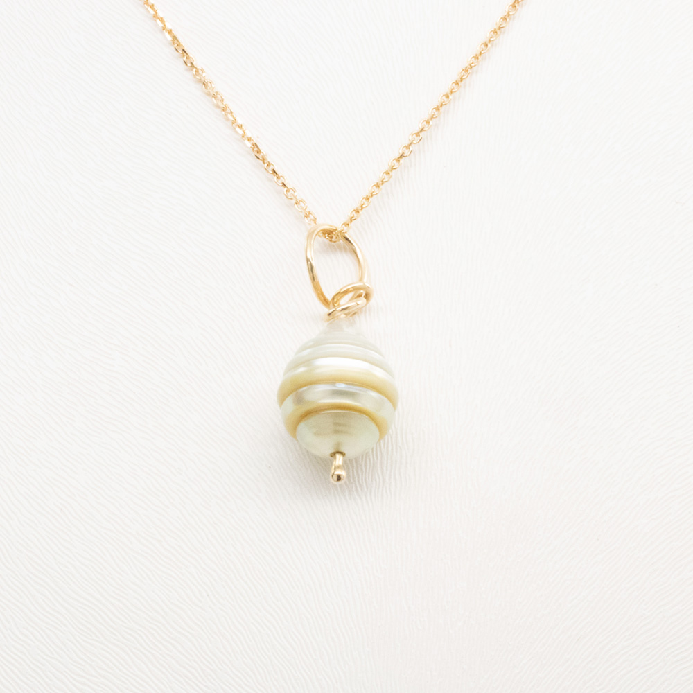 Beehive Shaped Hand carved Pearl Pendant, 14k Yellow Gold.