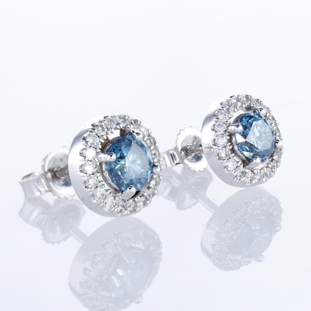 Blue Diamond Halo Earrings, 18k White Gold