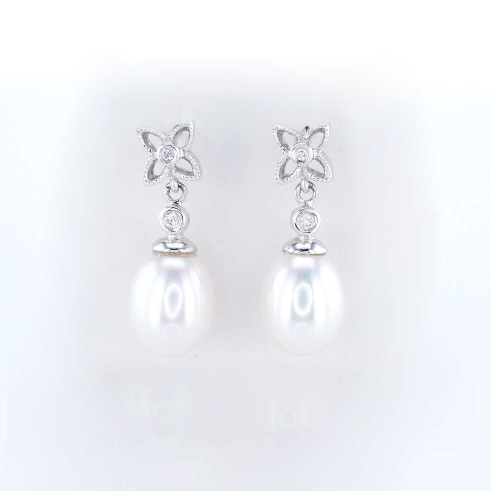 Floral Inspired Pearl Drop Earrings, Diamond Accented