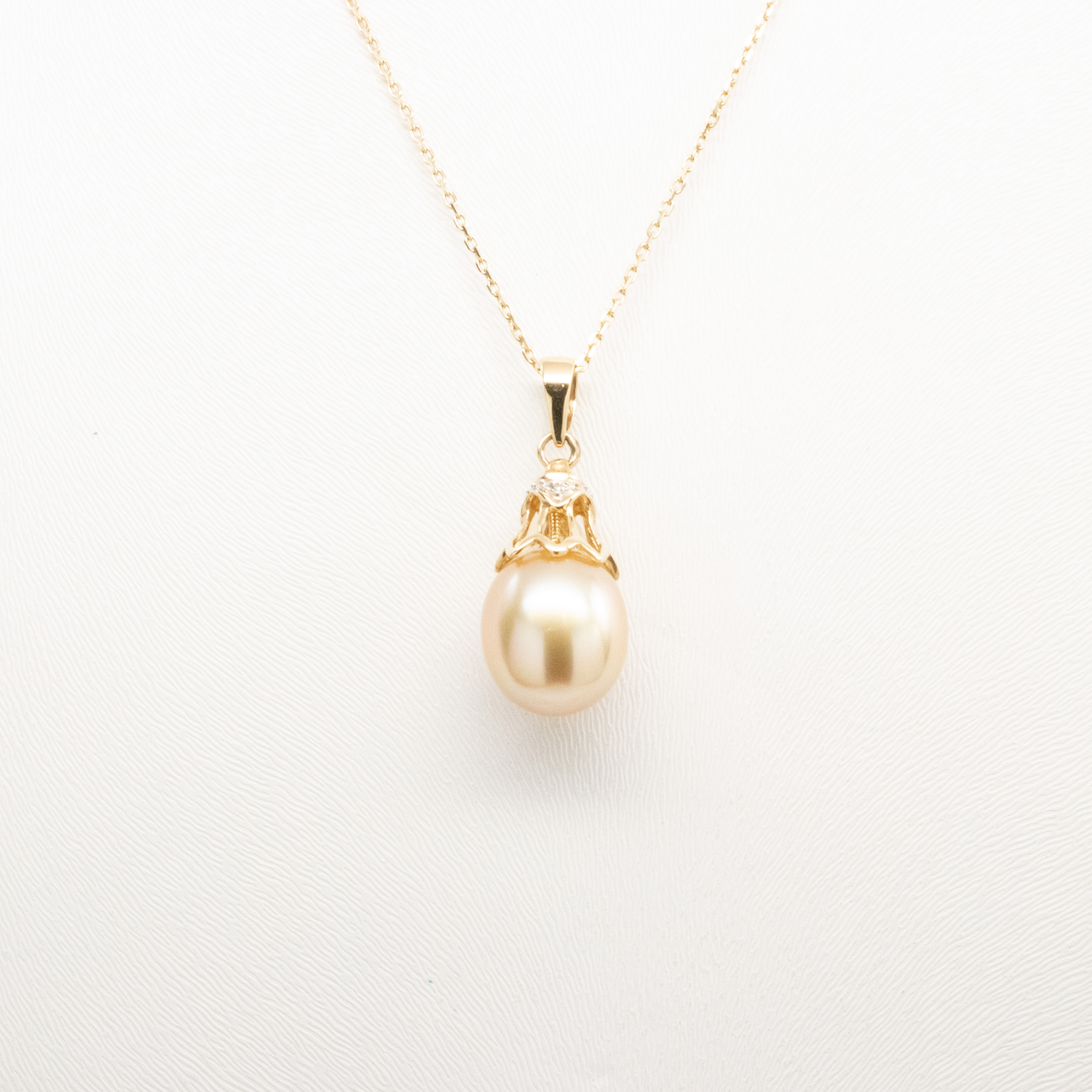 Oval Pearl Pendant with Diamond Accents, 14k Yellow Gold