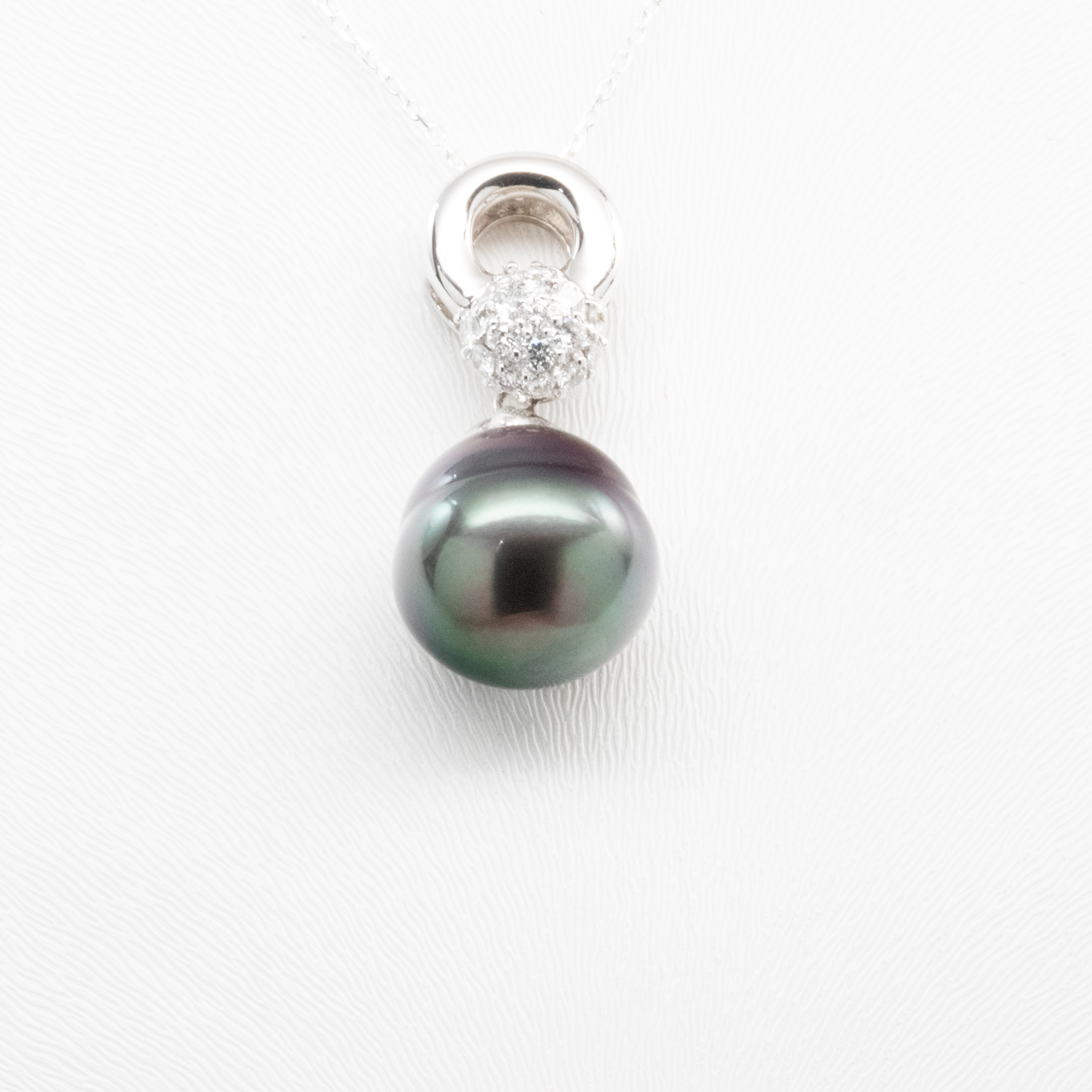 Tahitian Black Pearl Pendant with Diamond Accents