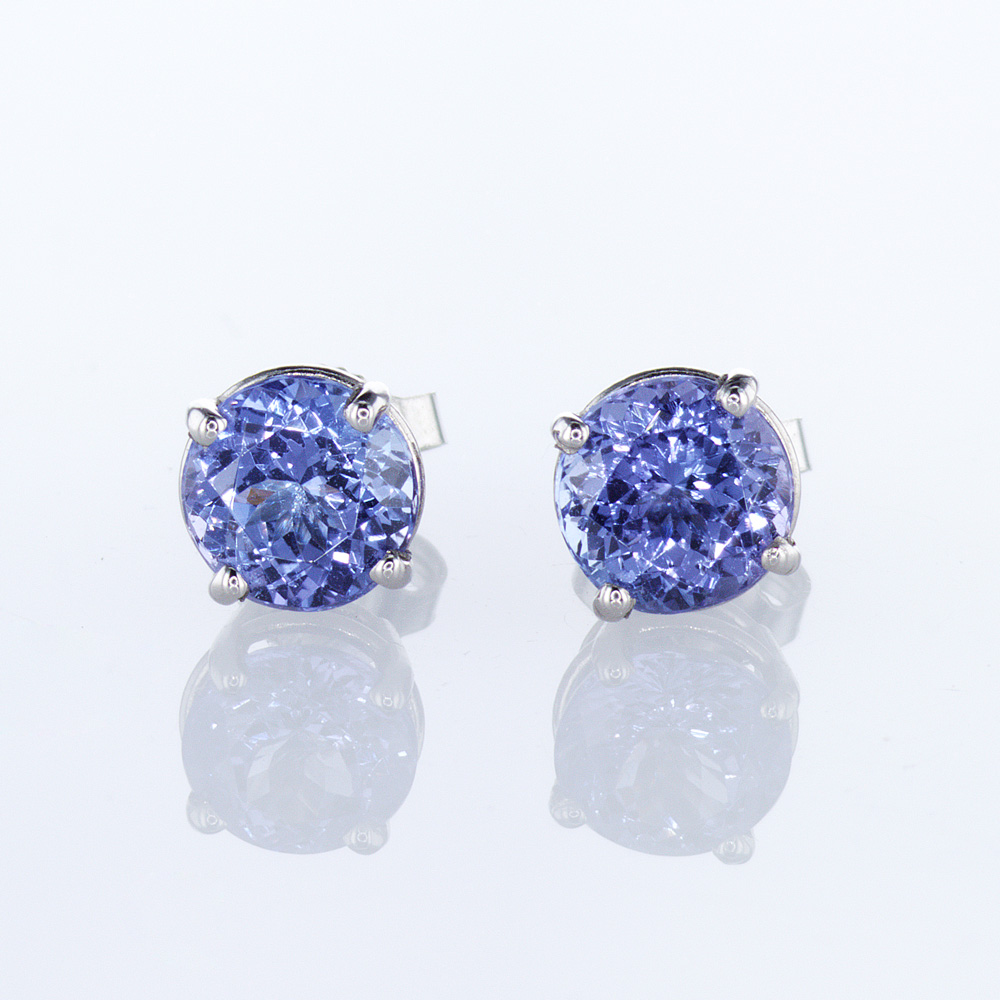 Blue Tanzanite Stud Earrings, Palladium