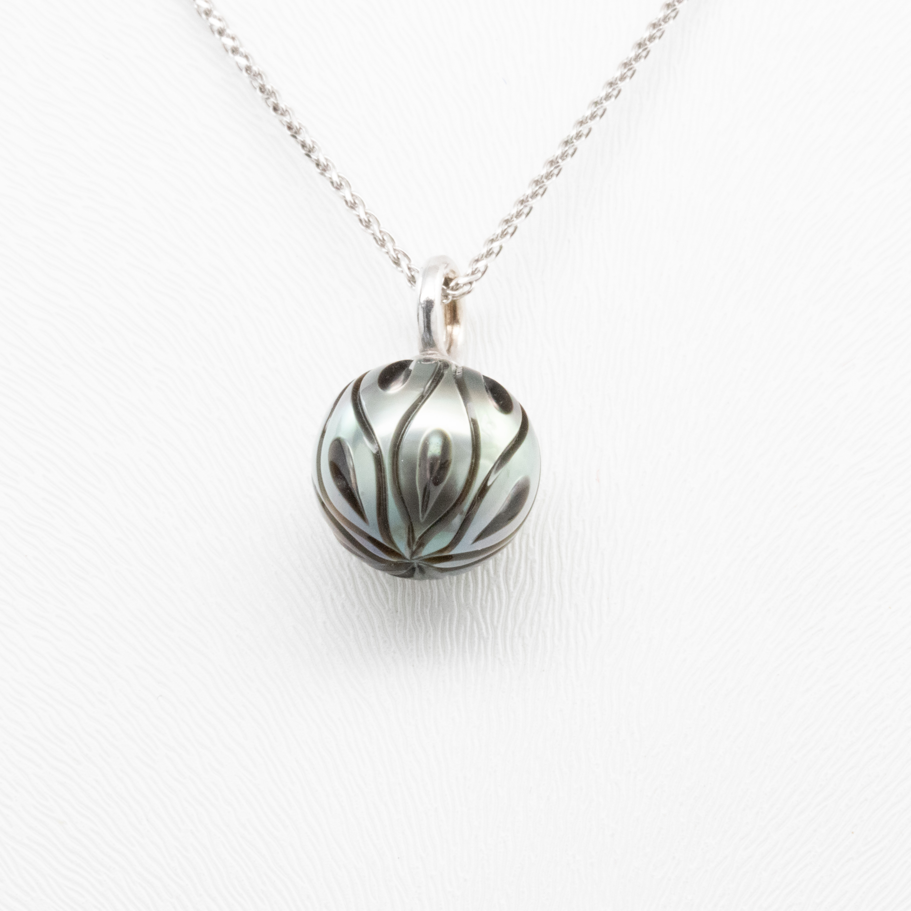 Hand carved Tahitian Pearl Pendant with 14k White Gold Chain