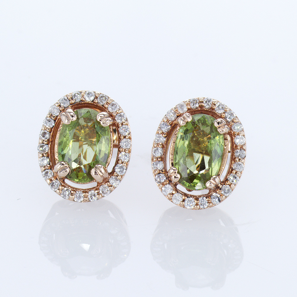 Oval Garnet and Diamond Stud Earrings, 14k Yellow Gold