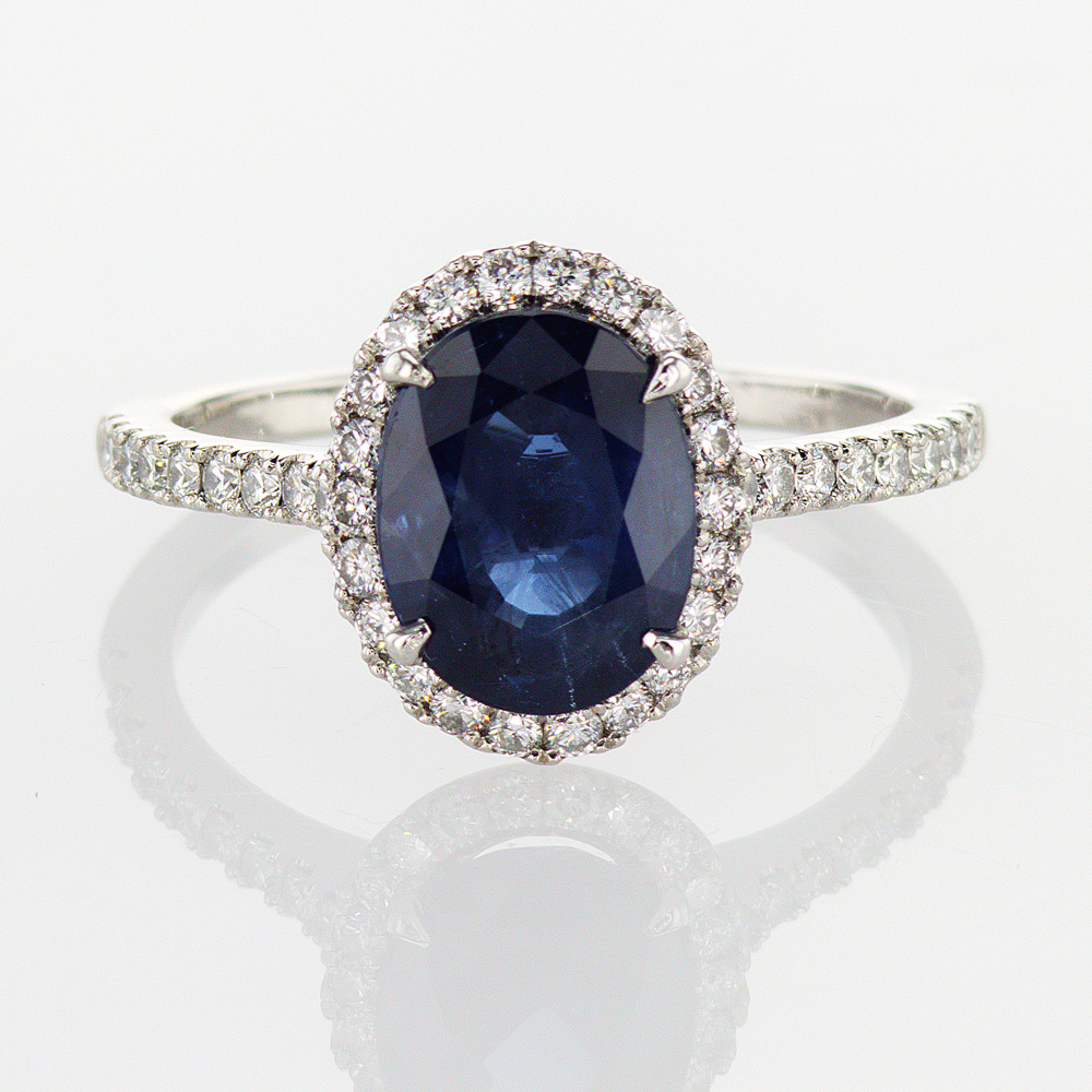 Dino Lonzano Oval Blue Sapphire in Diamond Halo Engagement Ring, Platinum