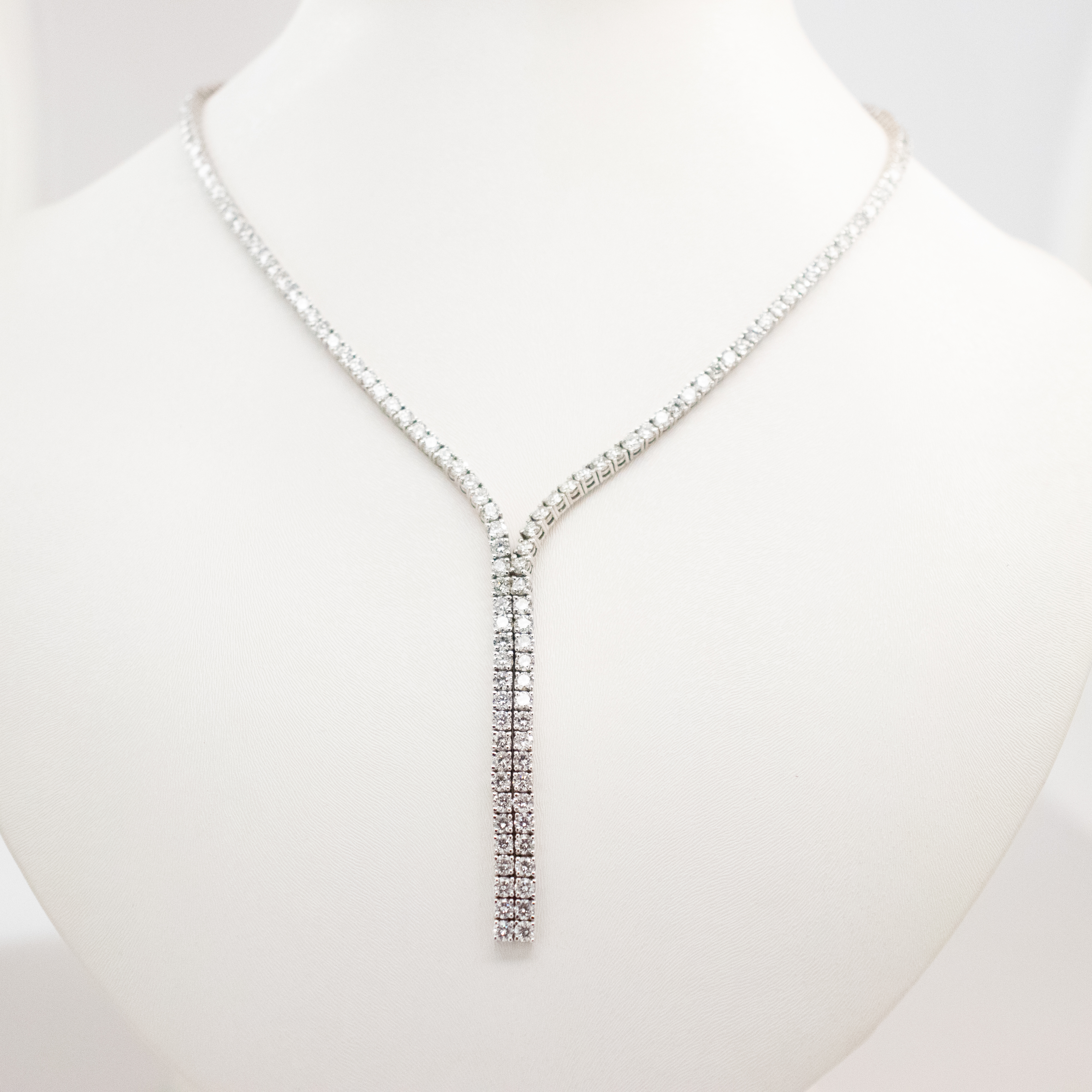 Diamond Eternity Necklace, 19.21 CTW, 14k White Gold