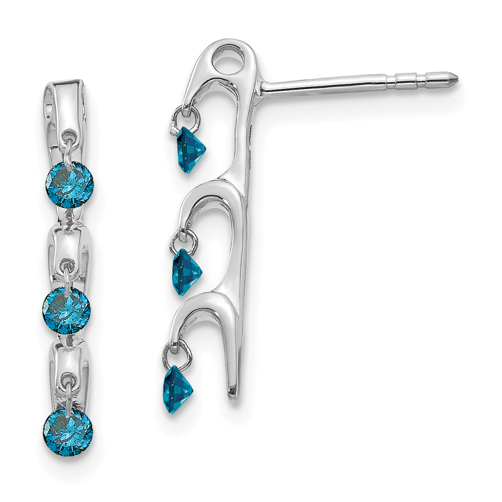 Dancing Blue Diamonds Drop Earrings, 14k White Gold