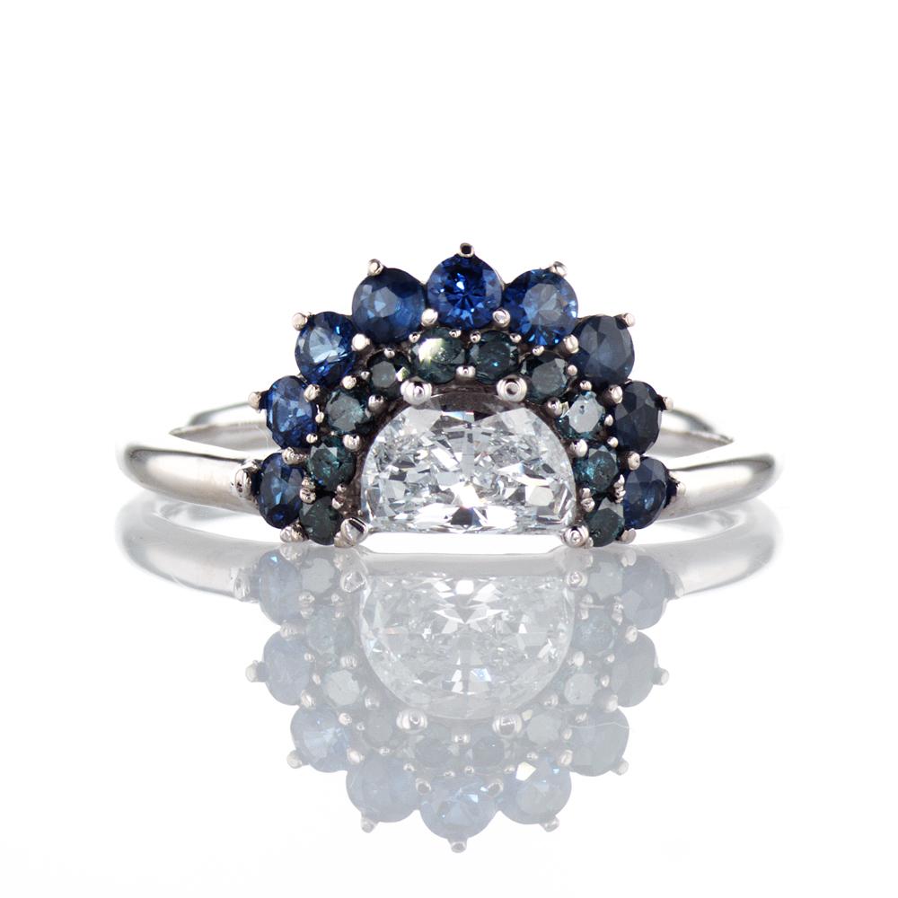 Dino Lonzano Luna Diamond and Sapphire Ring, 18k White Gold