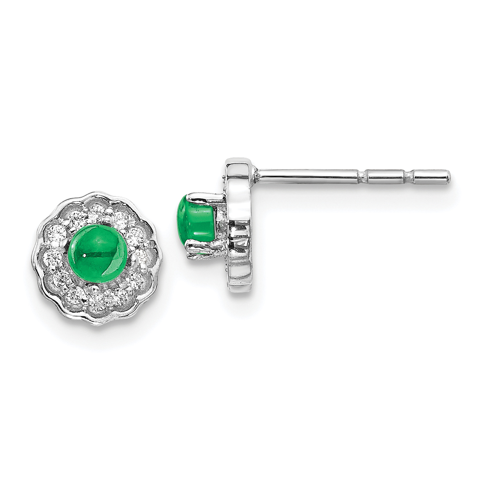 Floral inspired Emerald Earrings with Diamond Halo, 14k White Gold