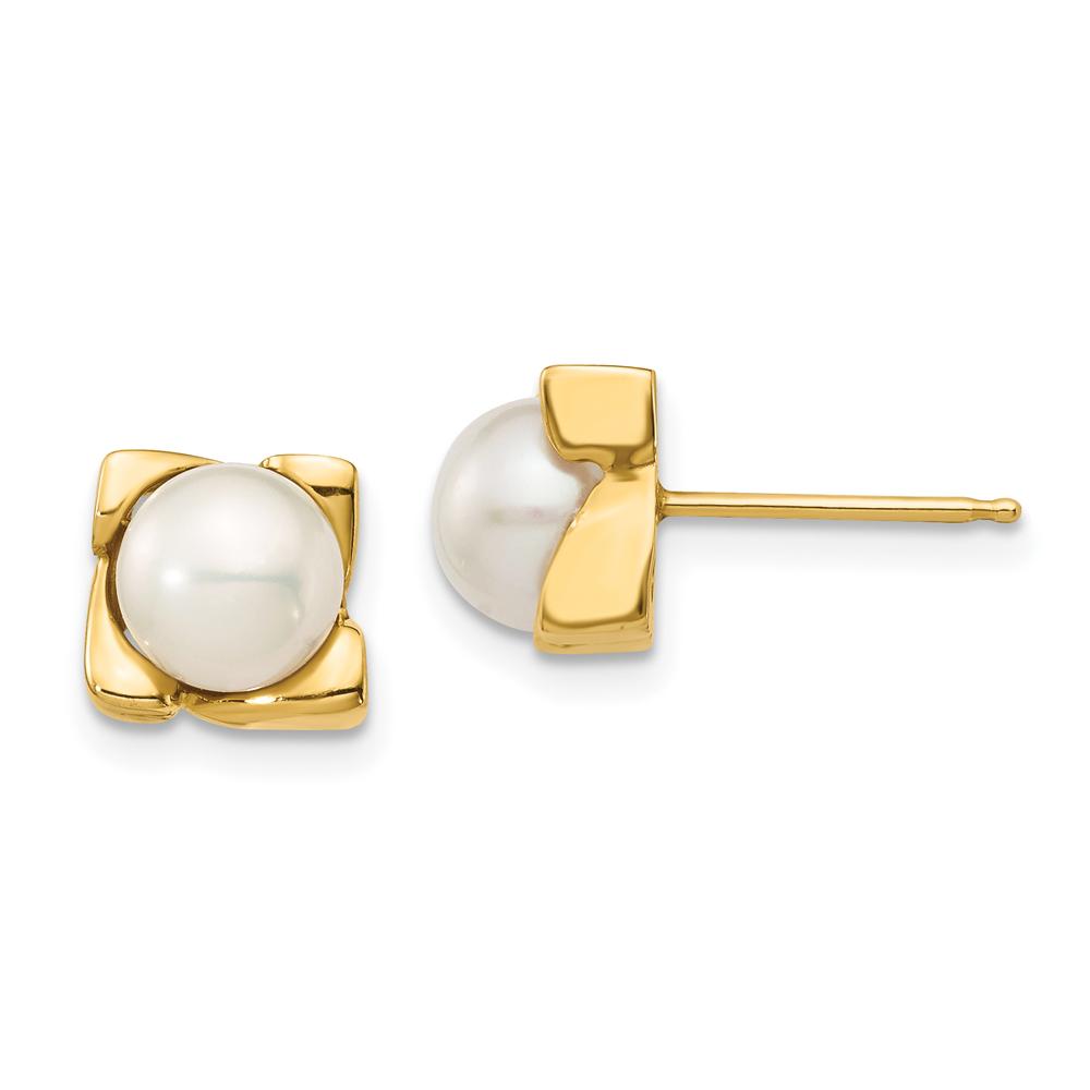 Freshwater Pearl Stud Earrings, 14k Yellow Gold