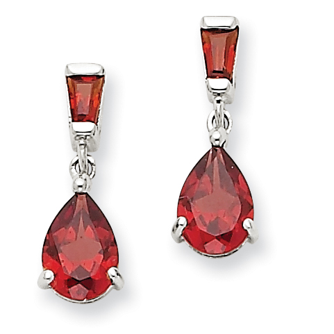 Garnet Drop Earrings, 14k White Gold