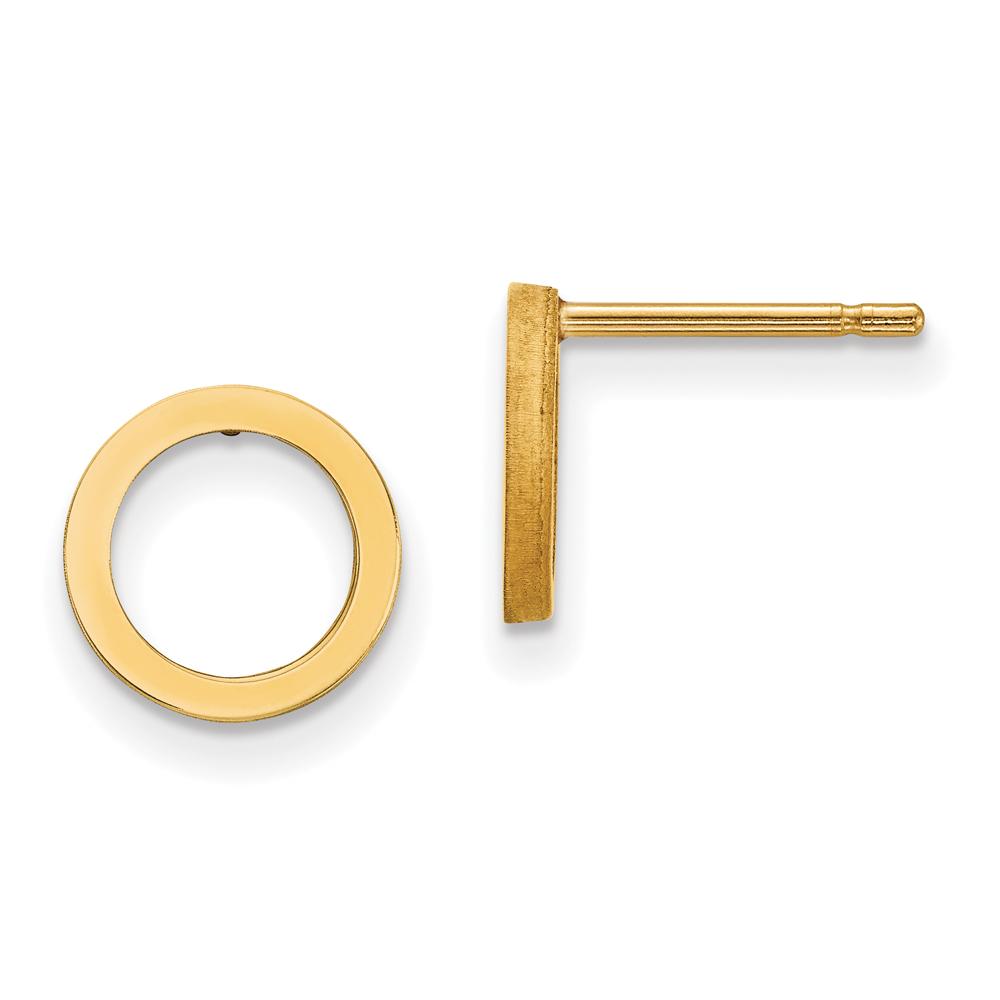 Gold Open Circle Stud Earrings, 14k Yellow Gold