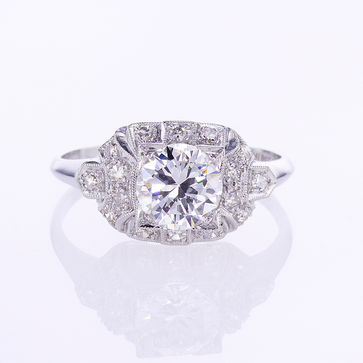 Vintage Art Deco Diamond Engagement Ring, Platinum