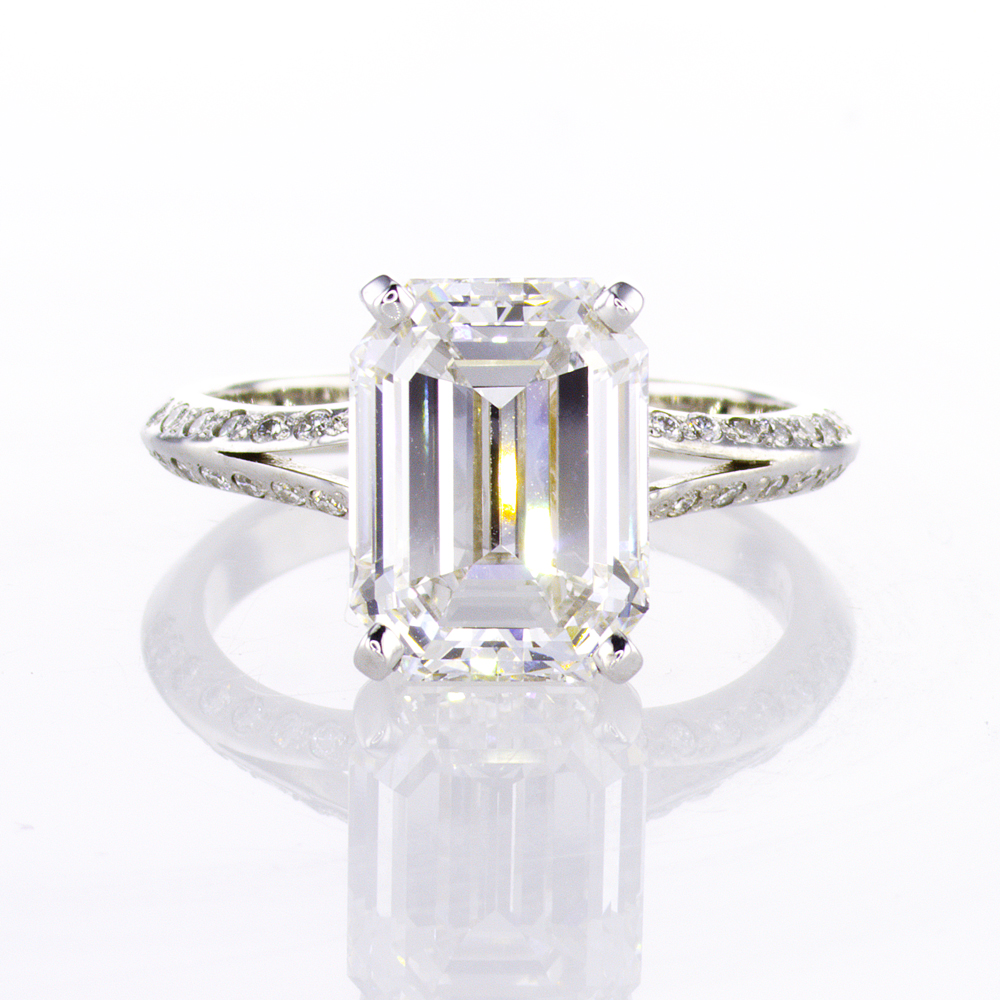 4.49 ct Emerald Cut Diamond Engagement Ring, 18k White Gold