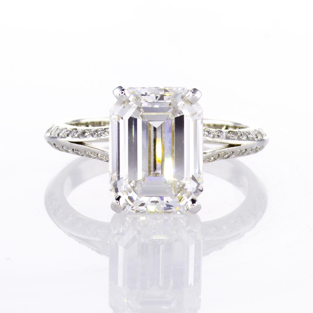 4.49 ct Emerald Cut Diamond Engagement Ring, 18k White Gold