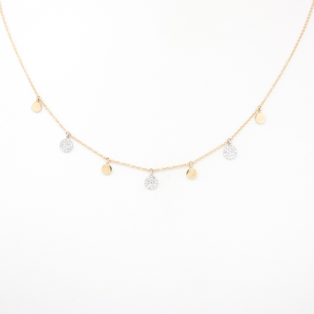 Dangling Diamond Disc Necklace