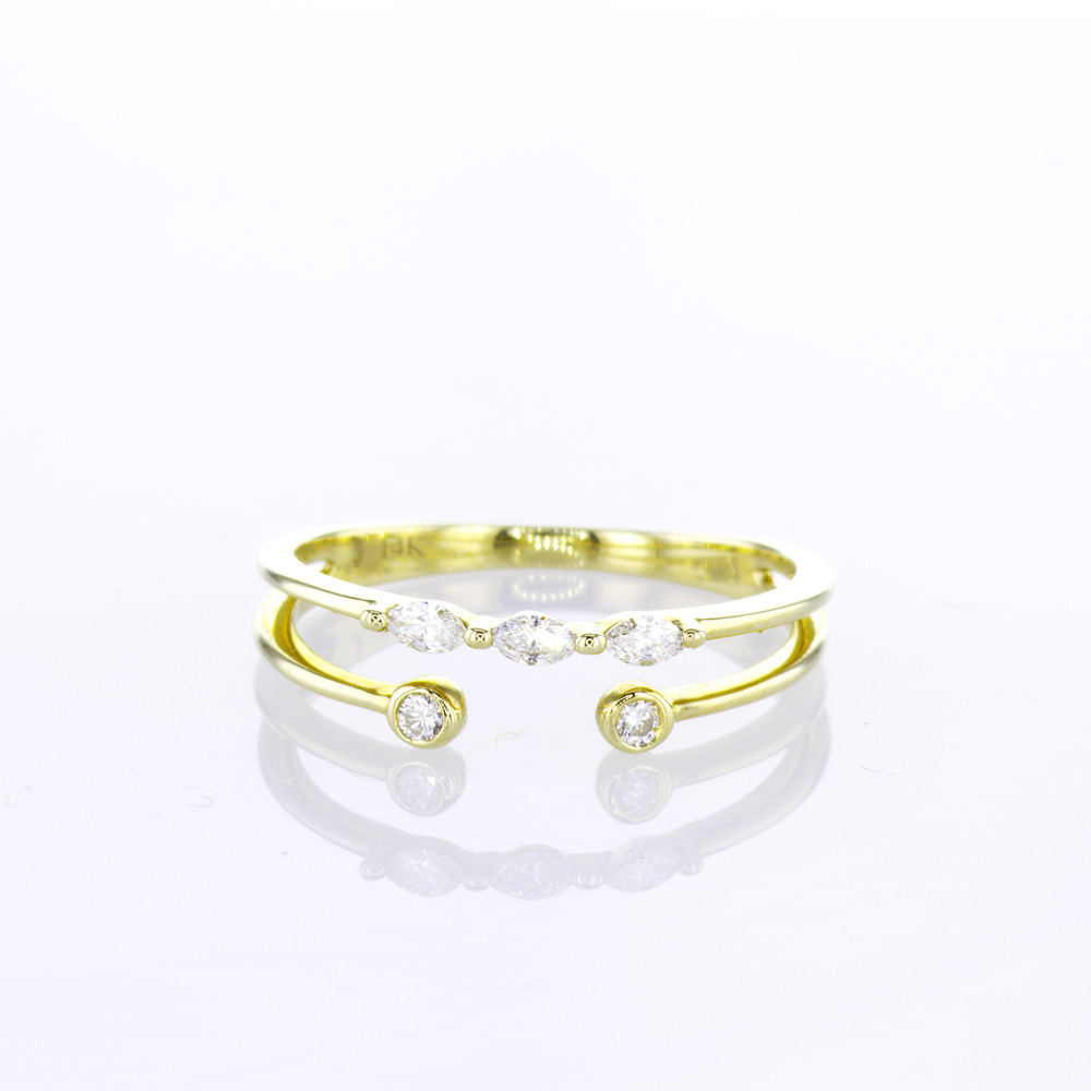 Double Open Row Diamond Ring