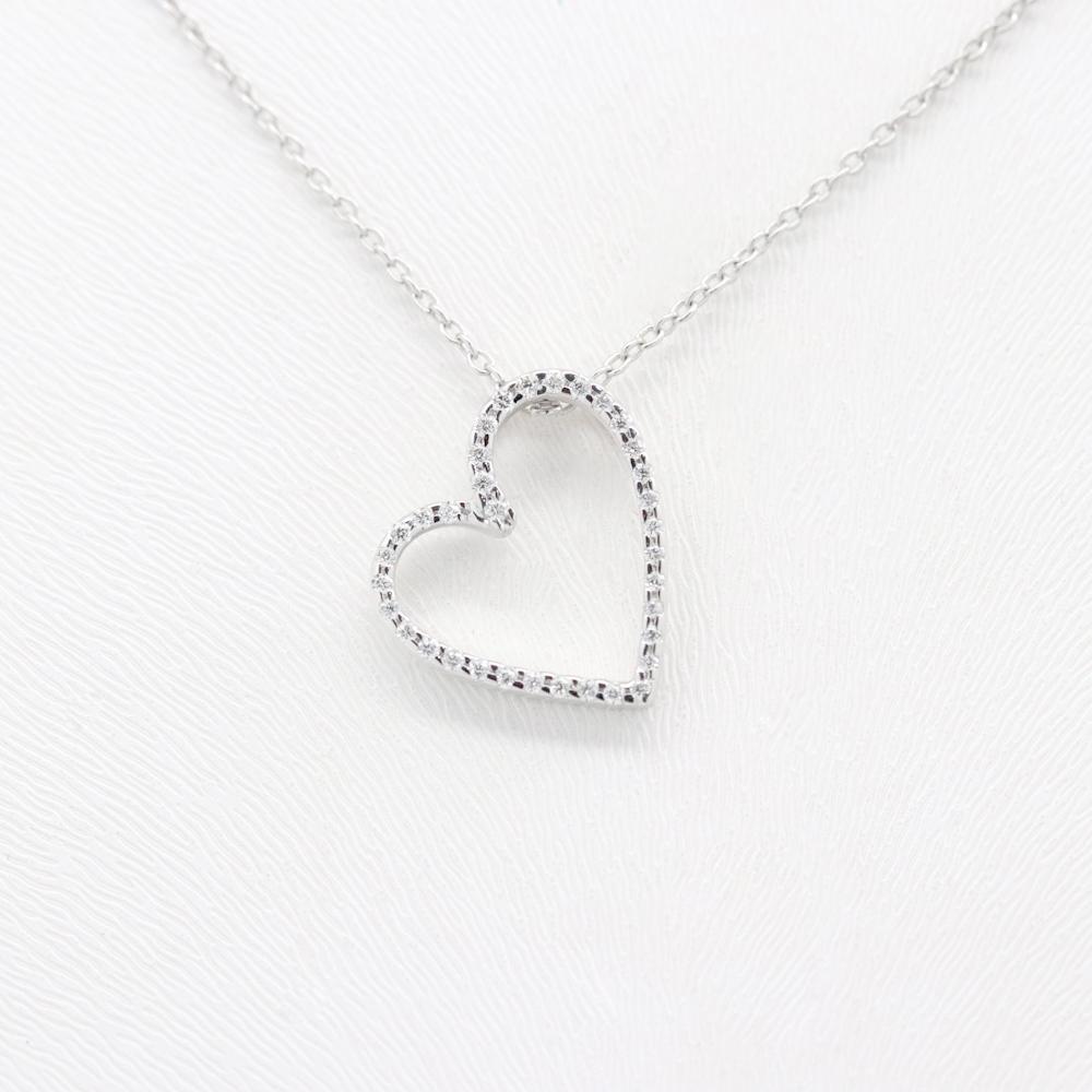 Diamond Heart Cutout Necklace