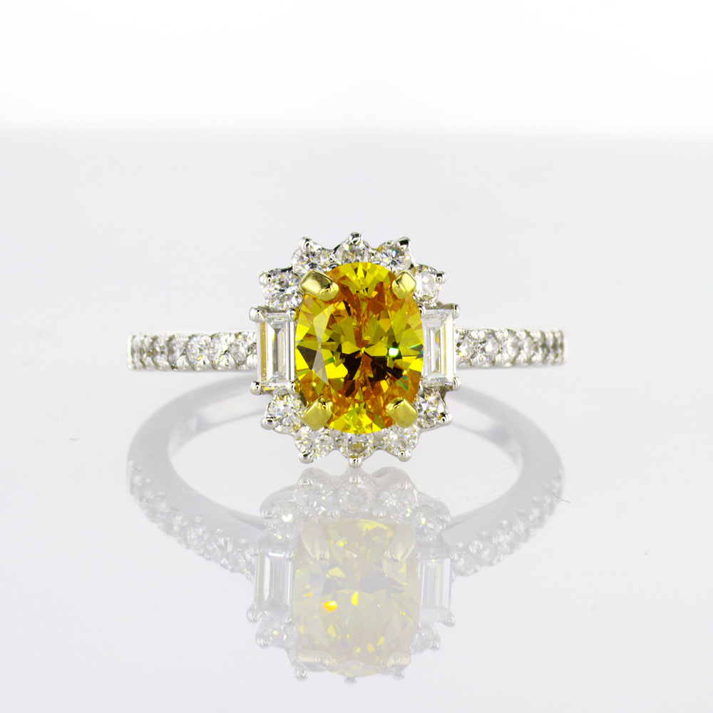 Yellow Sapphire Ring with Diamond Halo, in 18k White Gold