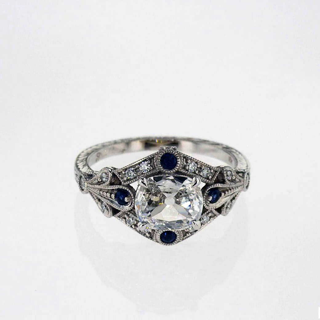 White Sapphire Engagement Ring with Diamond Halo