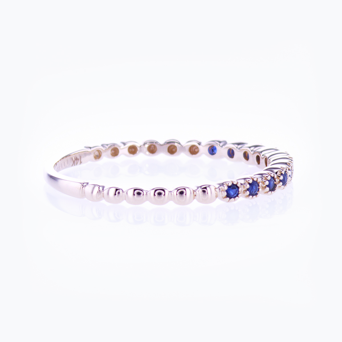 Floating Blue Sapphire Band Ring