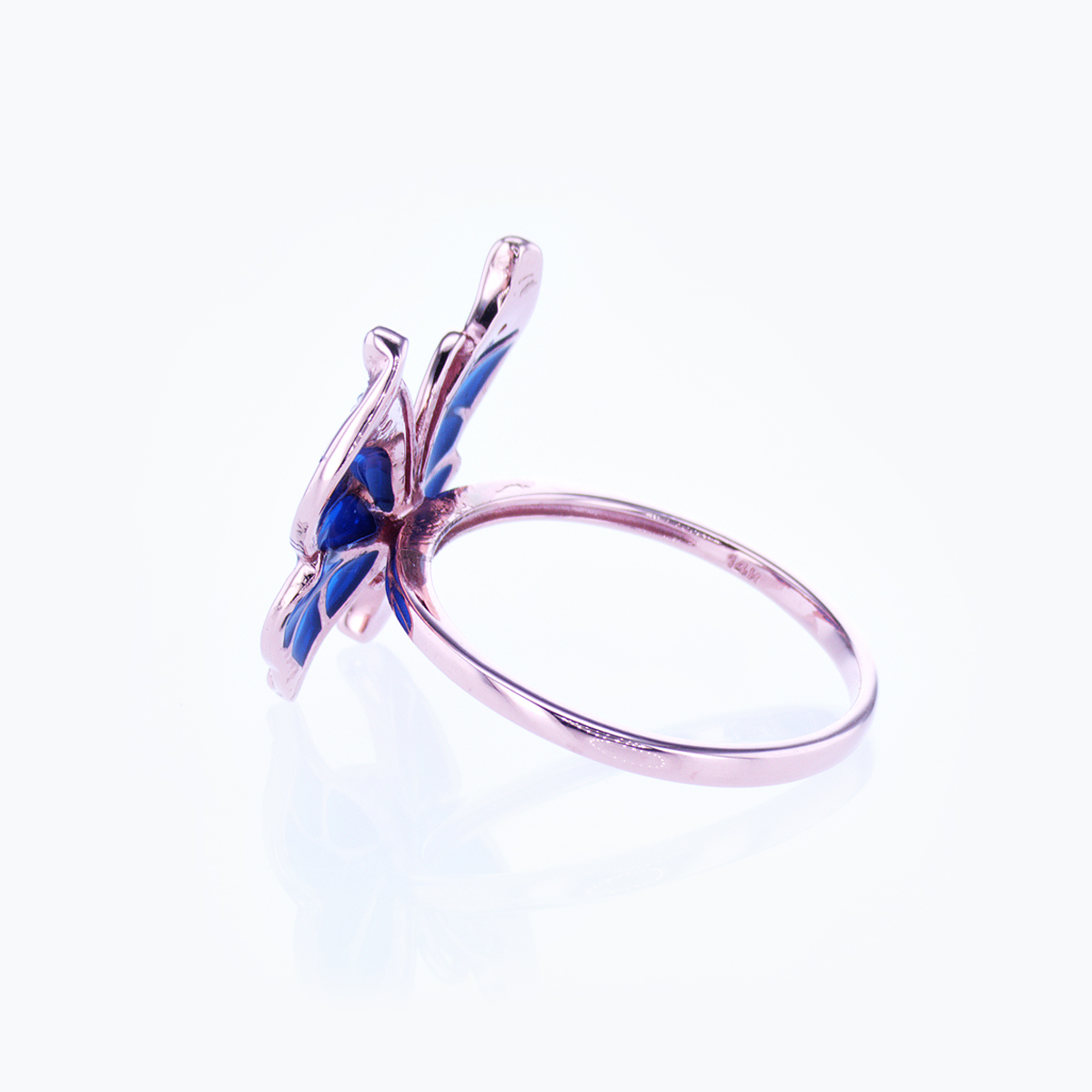Diamond accented Gemstone Enamel  Butterfly Ring