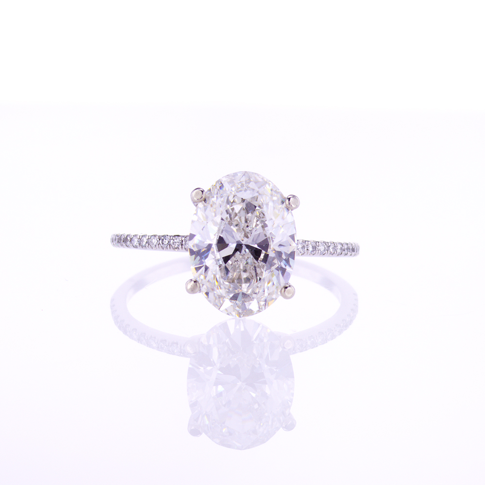 3.01-Carat Oval Lab-Crated Diamond Engagement Ring