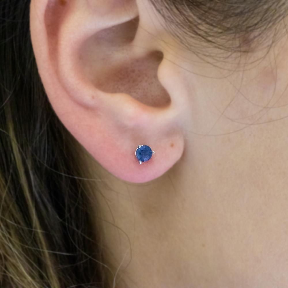 Natural Blue Sapphire Stud Earrings, 18k White Gold