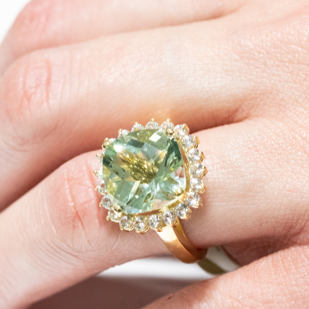 10-Carat Cushion Amethyst Fashion Ring with Diamond Accents