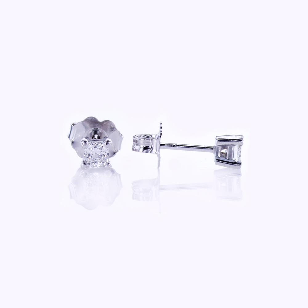 Cushion Cut Diamond Stud Earrings, 0.25cttw