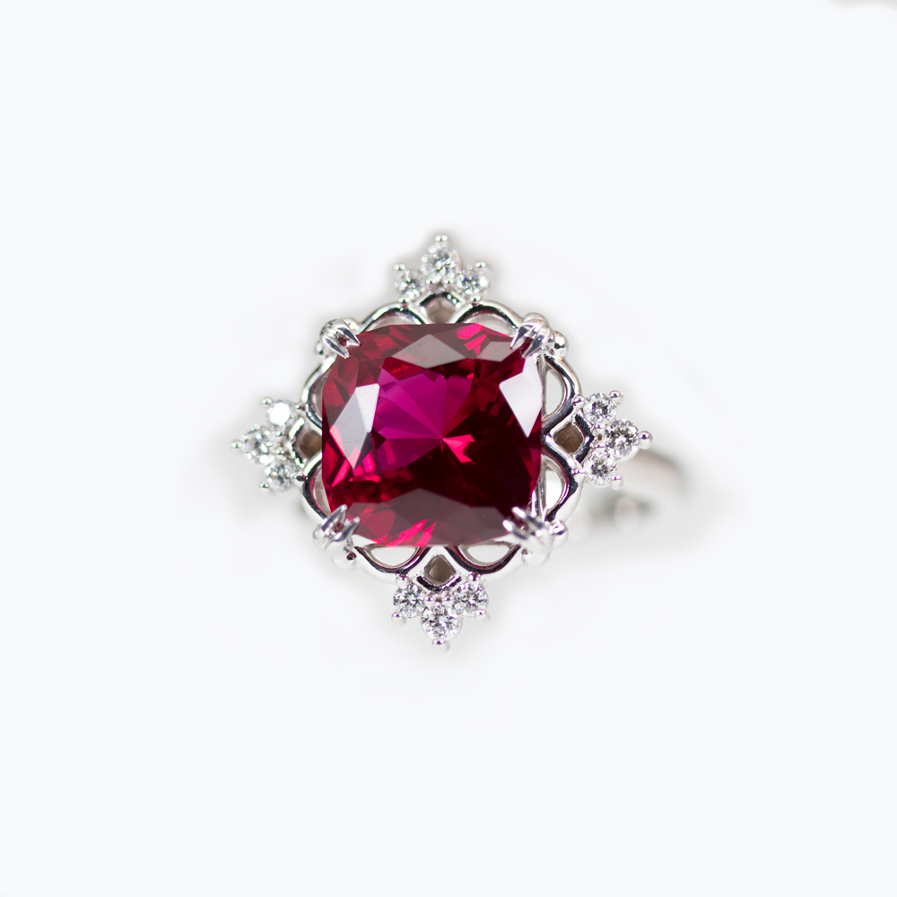 4.42ct Lab-grown Ruby Statement Ring with Diamond Accents