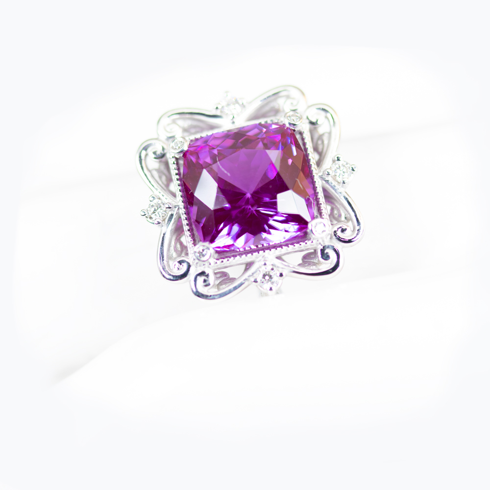 5.12ct Lab-grown Amethyst Statement Ring with Diamond Accents