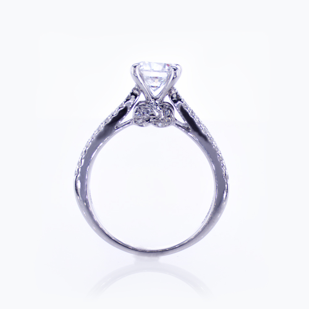 Diamond Accented Cathedral Engagement Ring