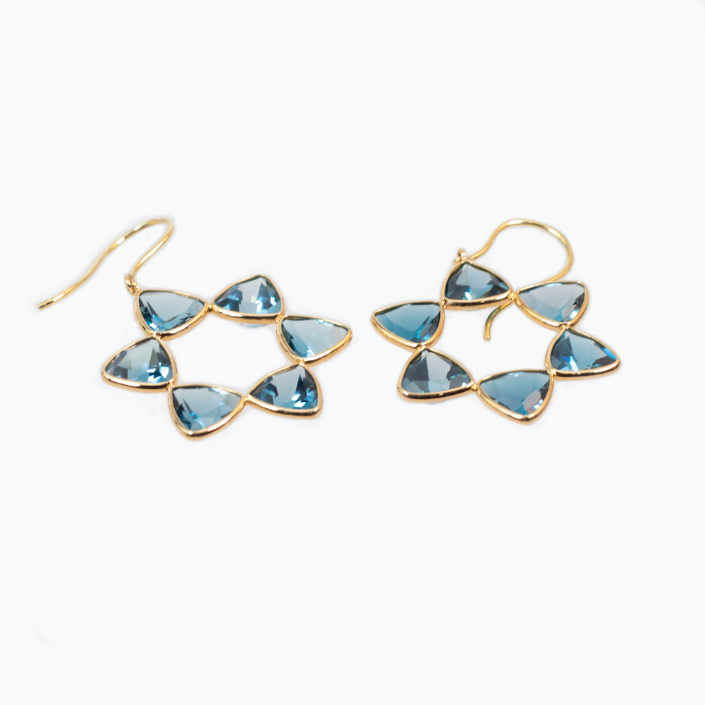 Triangular Cushion Cut Topaz Drop Earrings