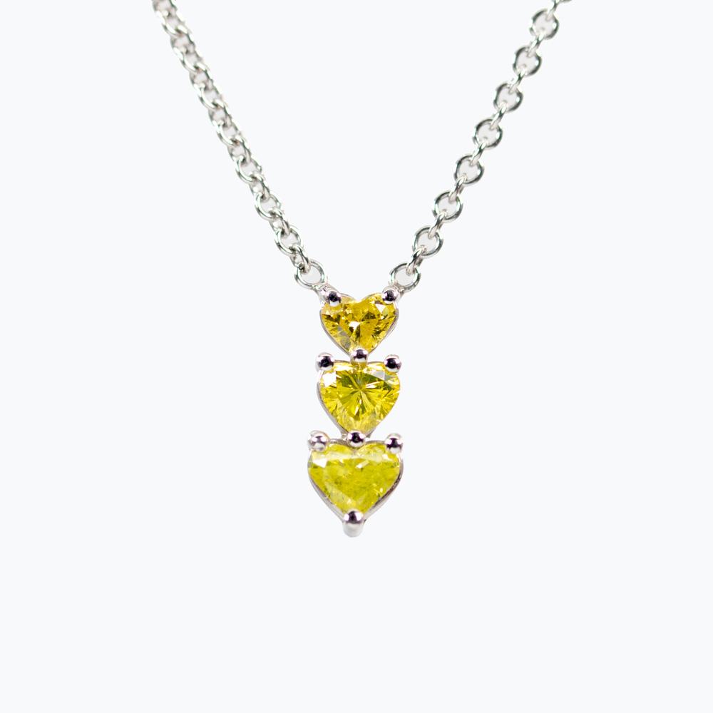 Three Hearts Yellow Diamond Necklace