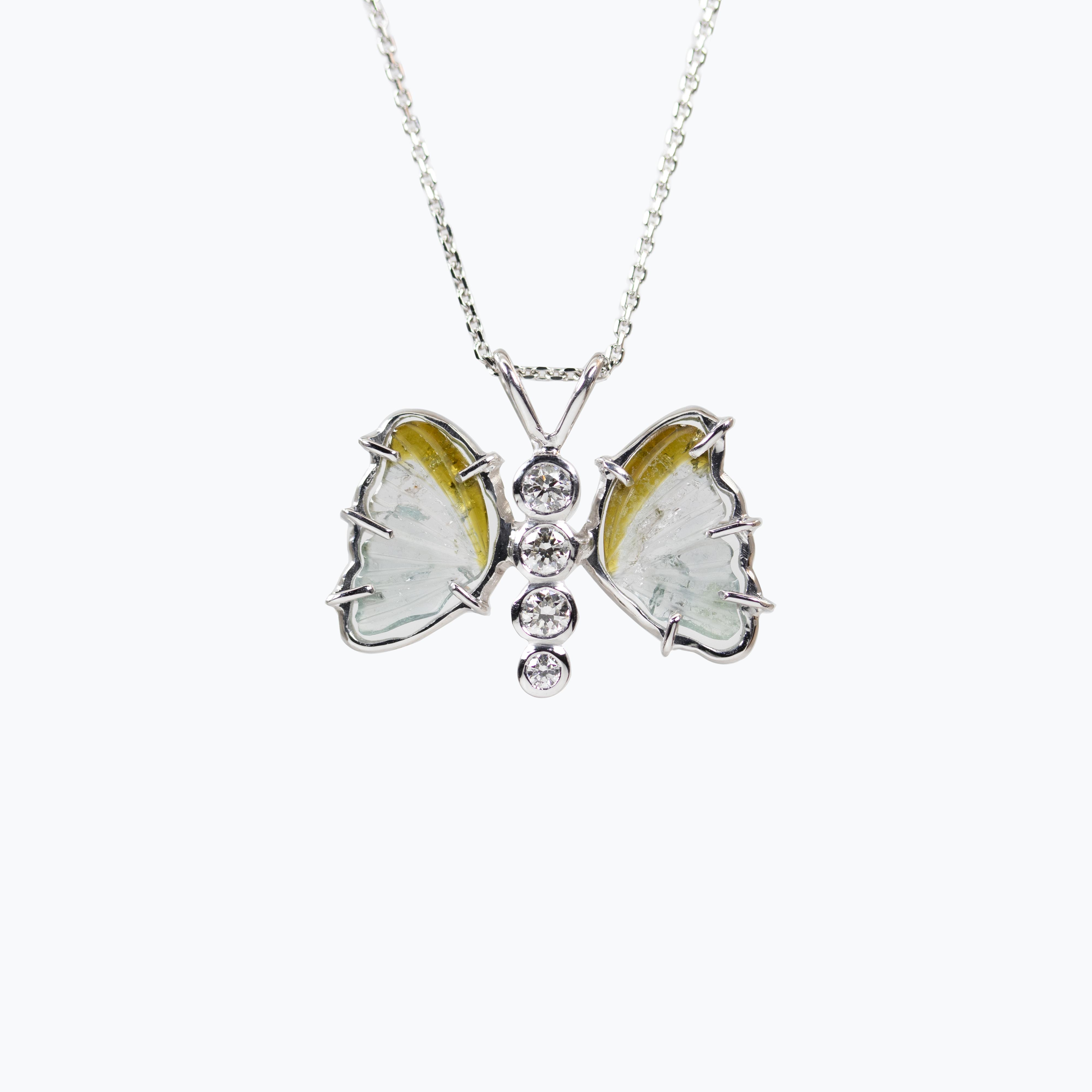 Diamond and Tourmaline Butterfly Pendant Necklace
