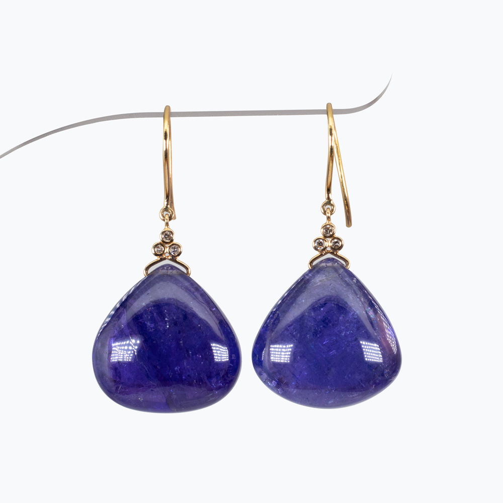 Cabochon Tanzanite Dangle Earrings with Diamond accents