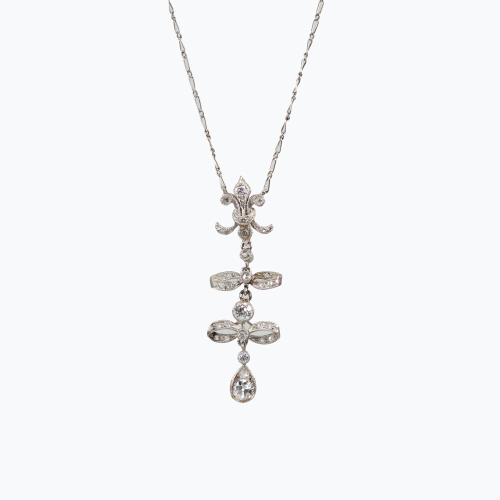 Edwardian Lavaliere Diamond Pendant Necklace, 1910s