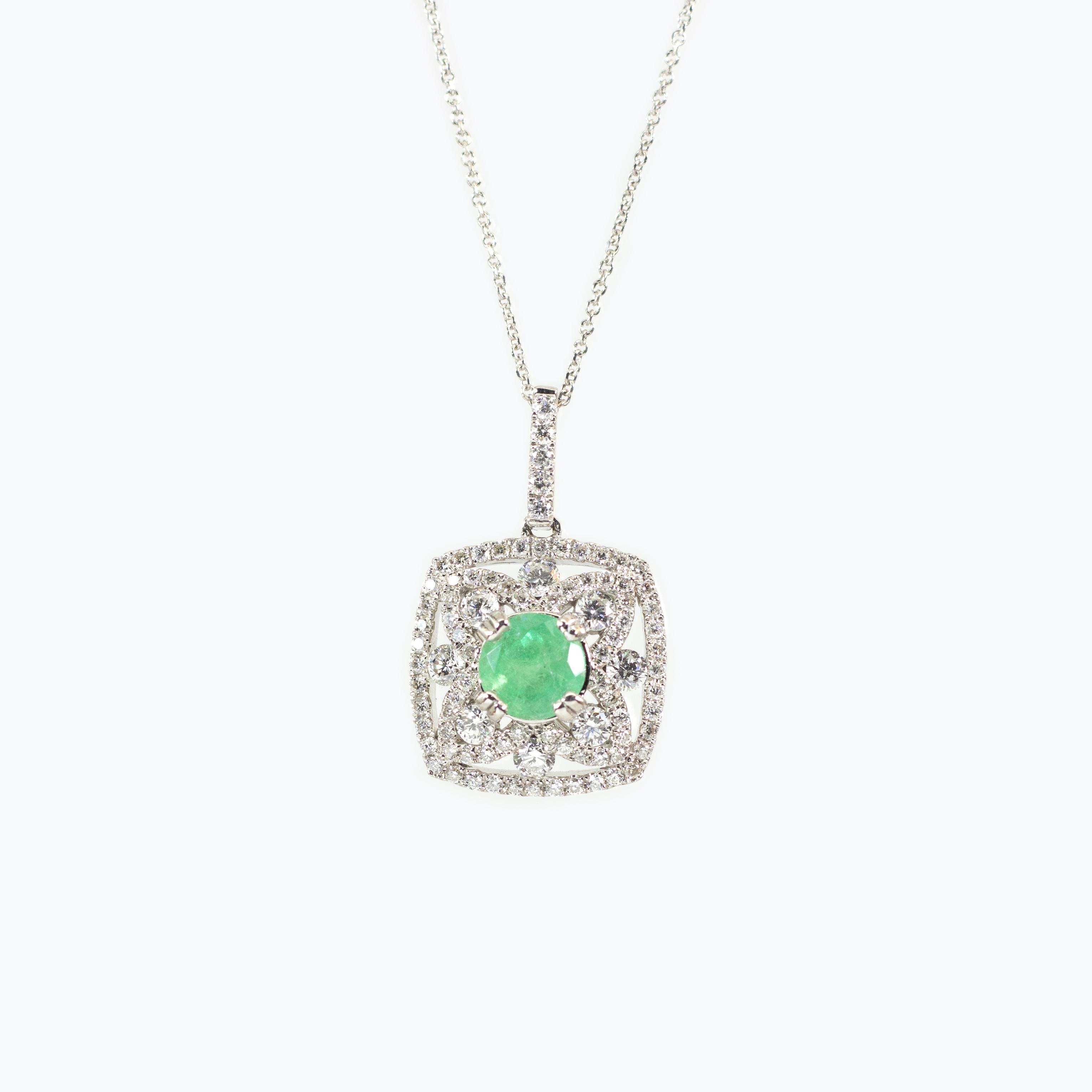Emerald in Diamond Halo Pendant and Chain