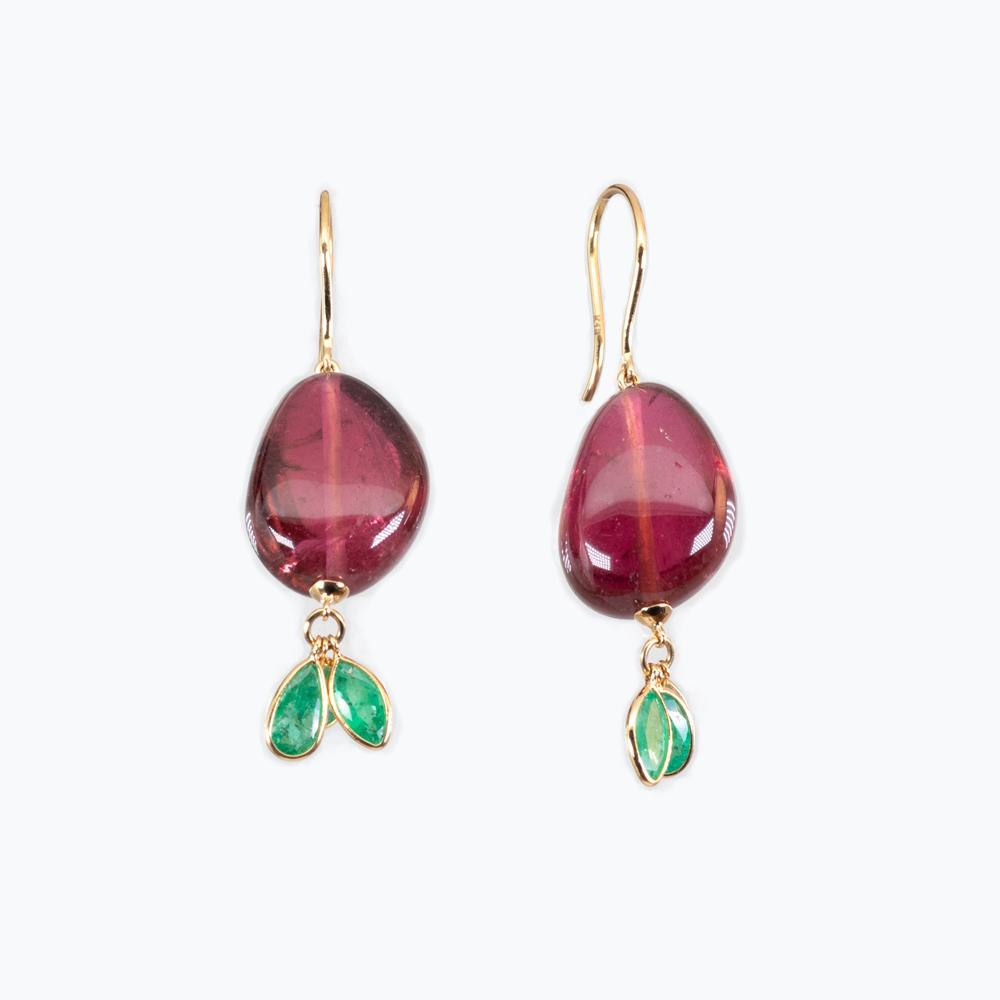 Pink Tourmaline and Emeralds Dangle Earrings
