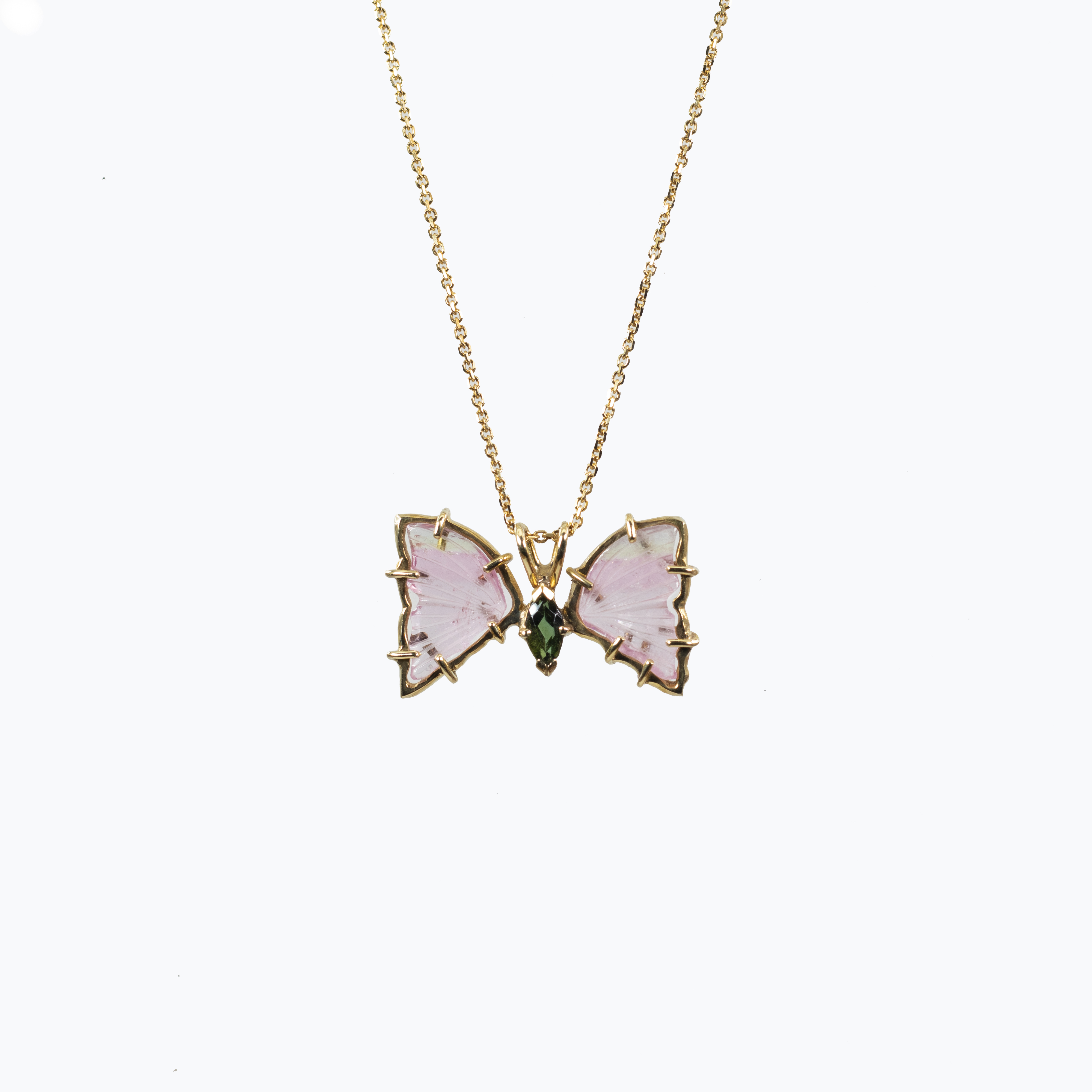 Tourmaline Butterfly Pendant Necklace