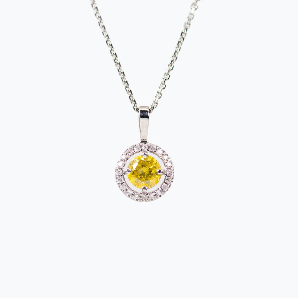 Yellow Diamond Halo Pendant and Chain