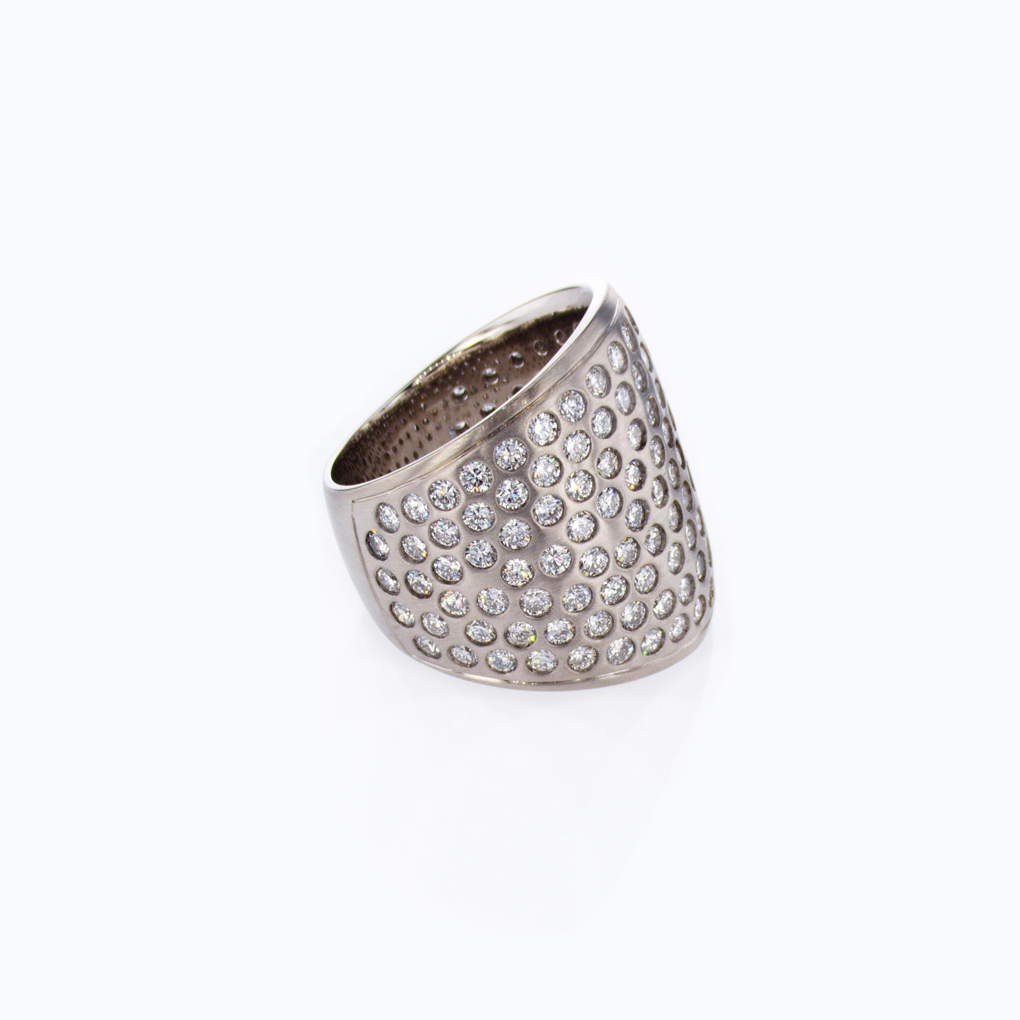 Dino Lonzano Burnished-set Diamond Fashion Ring