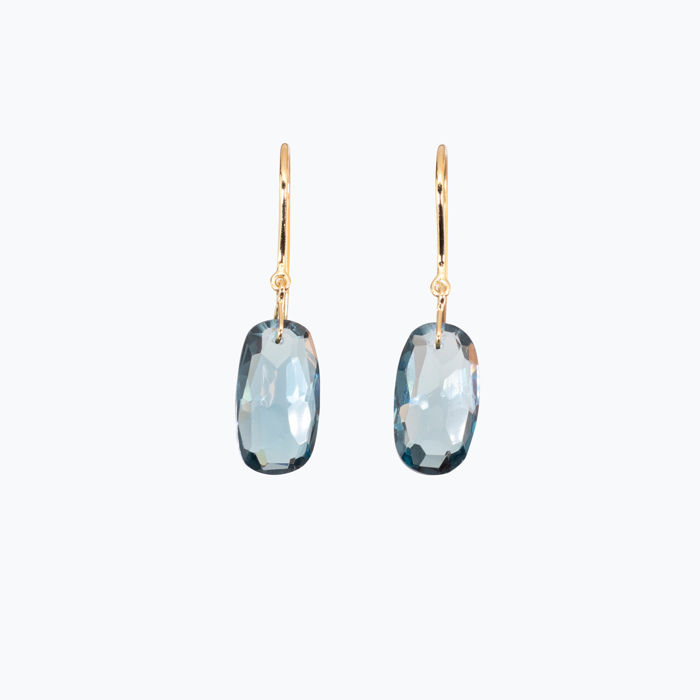 Mixed Cut London Blue Topaz Drop Dangle Earrings